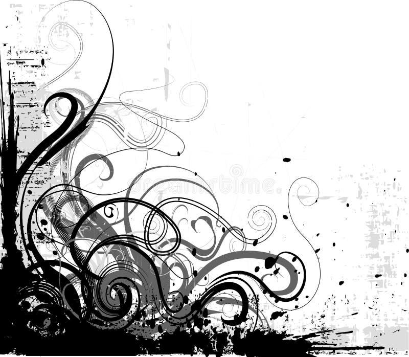 Grunge floral corner. Black and white grunge floral corner vector illustration
