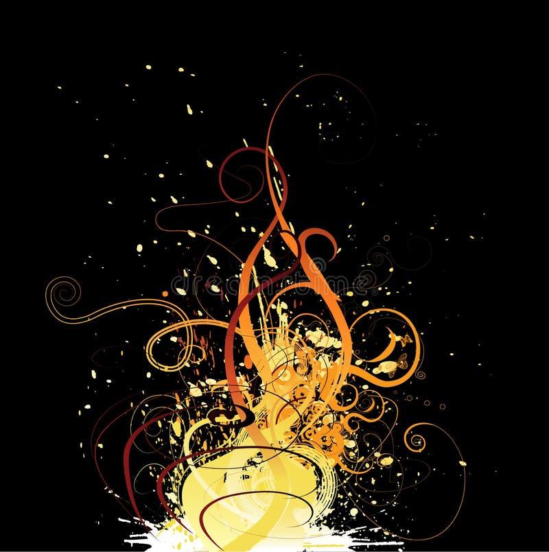 Grunge floral design. Grungy floral decorative elements-fire stylization vector illustration