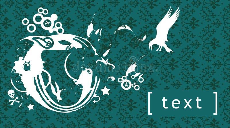Grunge floral elements, wallpaper stock illustration