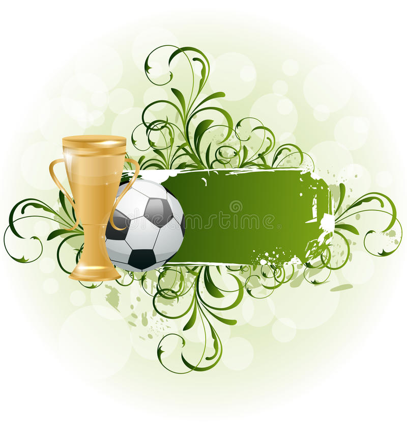Grunge floral football card with ball and prize stock illustration