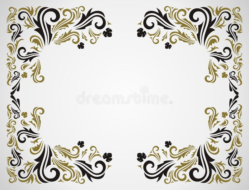 Grunge floral frame. Seamless floral pattern with frame in gray AND gold color stock illustration