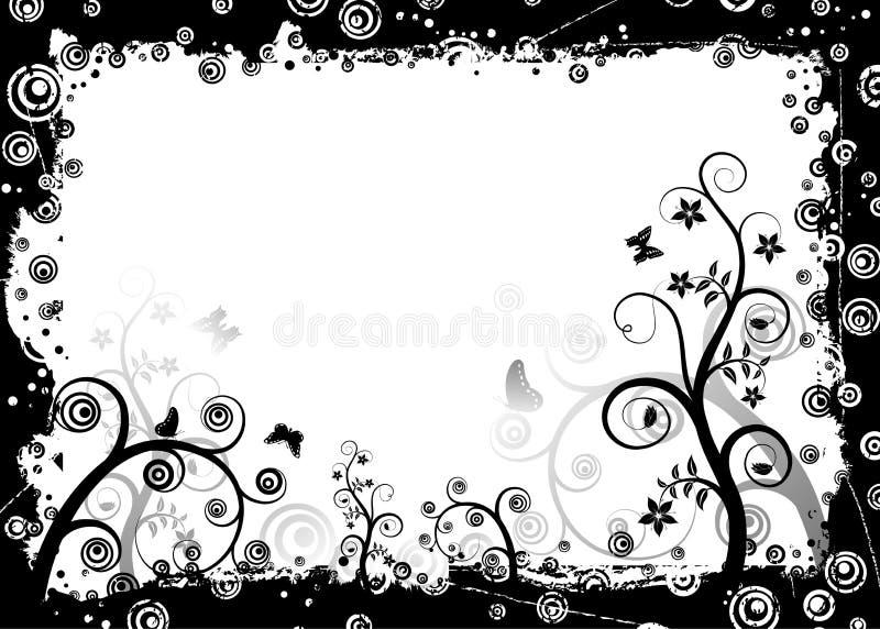 Grunge floral frame, vector royalty free illustration