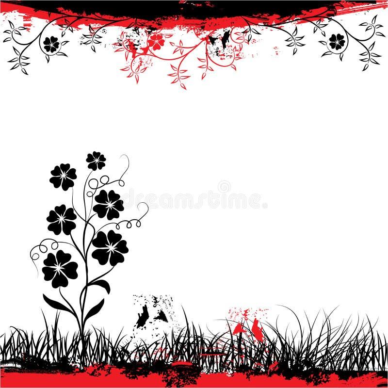 Grunge floral frame, vector vector illustration