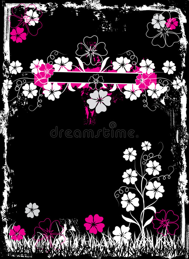 Grunge Floral Frame, Vector Royalty Free Stock Photos