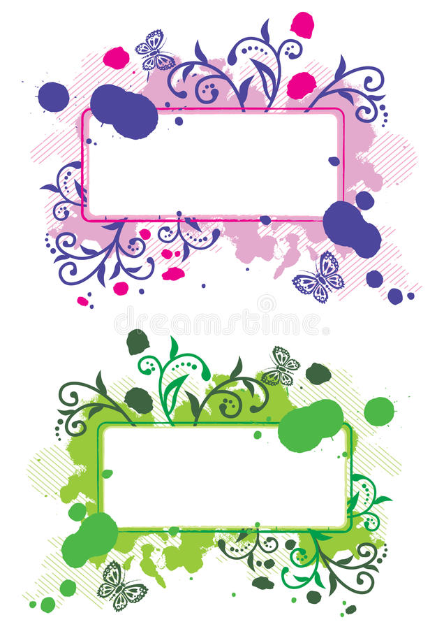 Grunge floral frames royalty free illustration