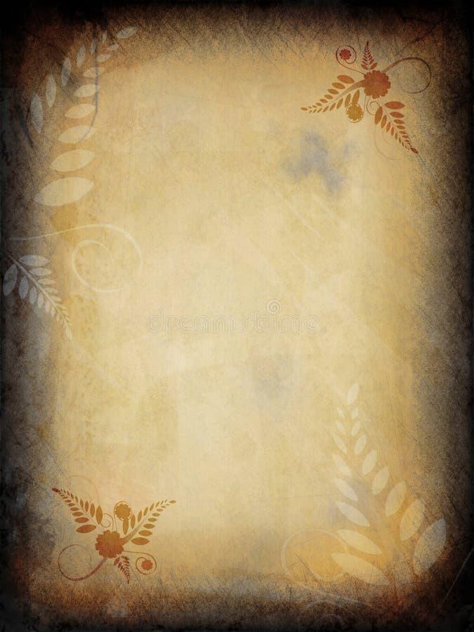 Grunge Floral Paper. Grunge textured paper illustration with floral pattern stock illustration