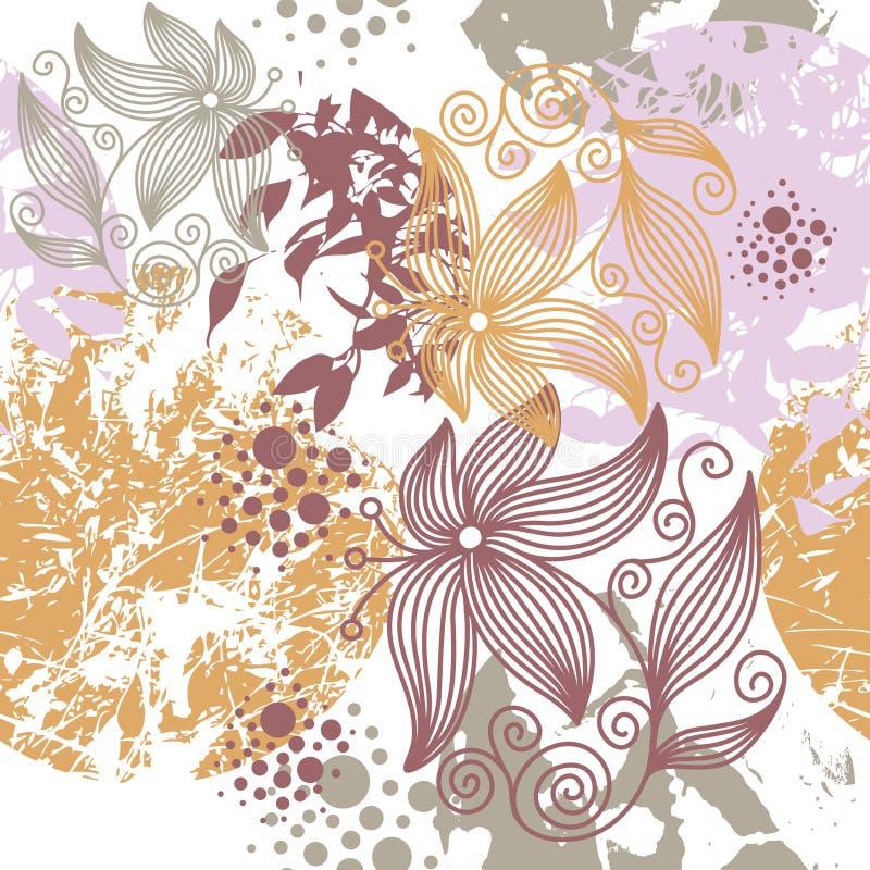 Grunge floral pattern. Seamless floral pattern,stylish wallpaper stock illustration
