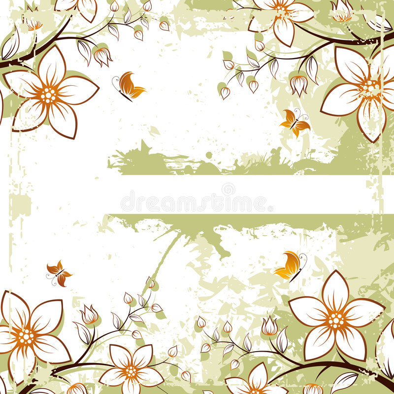Grunge floral space for text stock photography
