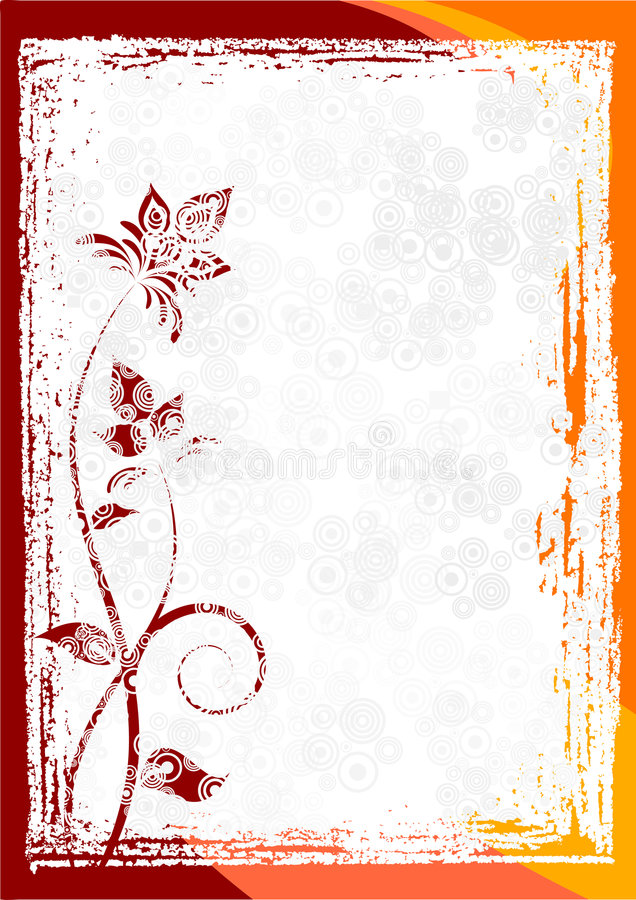 Free Grunge Floral Vector Frame Royalty Free Stock Image - 4448746