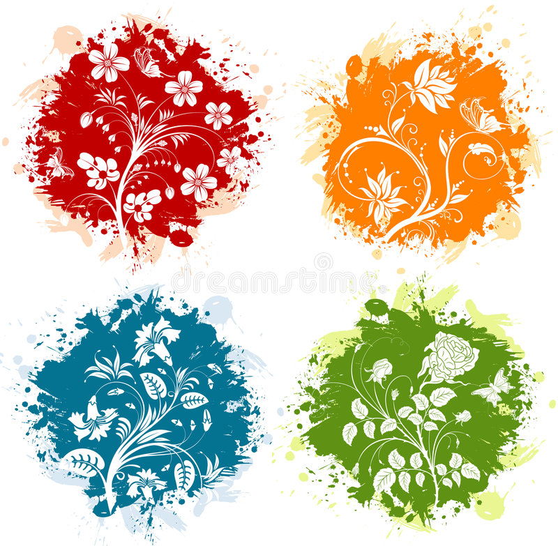 grunge florale illustration stock