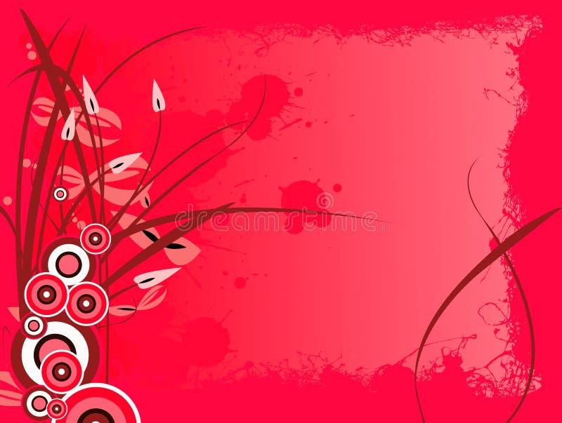 Grunge florale rouge illustration stock