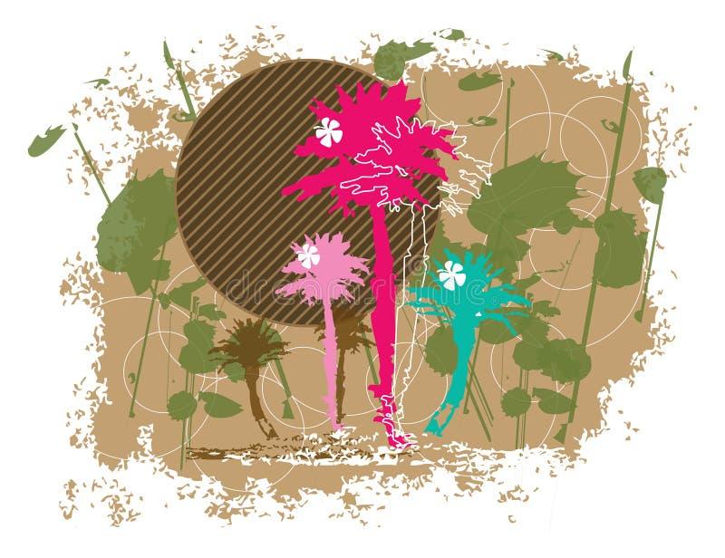 Grunge floreale delle palme illustrazione vettoriale