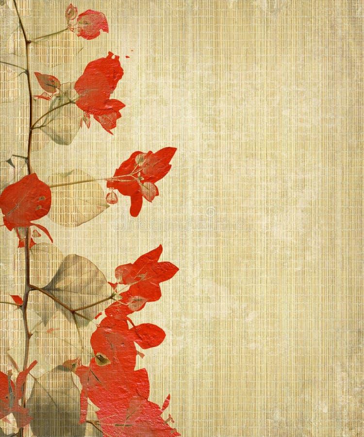 Free Grunge Flower Art On Bamboo Background Royalty Free Stock Images - 18212699