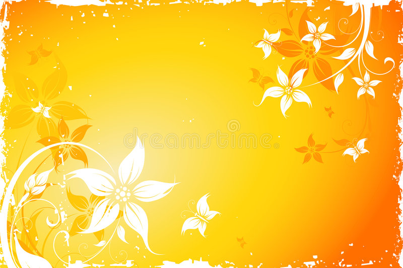 Grunge flower background with butterfly stock photos