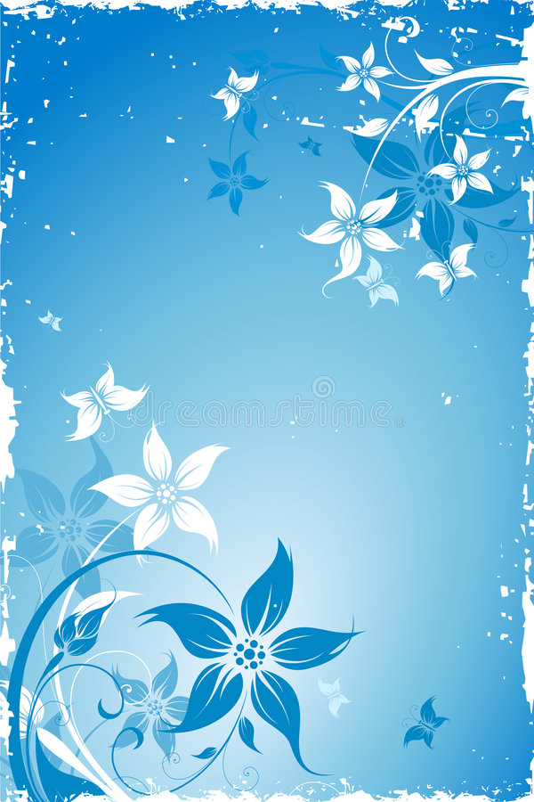 Grunge flower background with butterfly royalty free stock image
