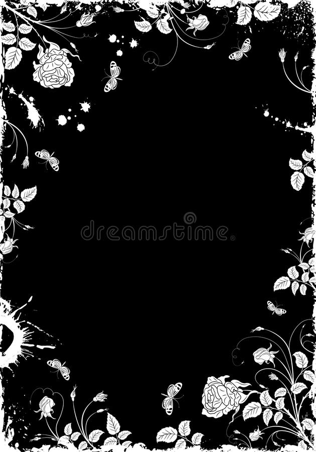 Grunge Flower Frame vector illustration