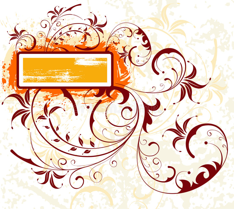 Grunge flower frame vector illustration