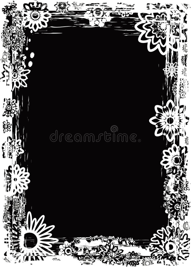 Grunge flower frame, vector vector illustration
