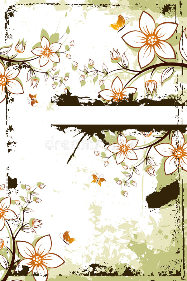 Grunge flower tree with copyspace stock photo