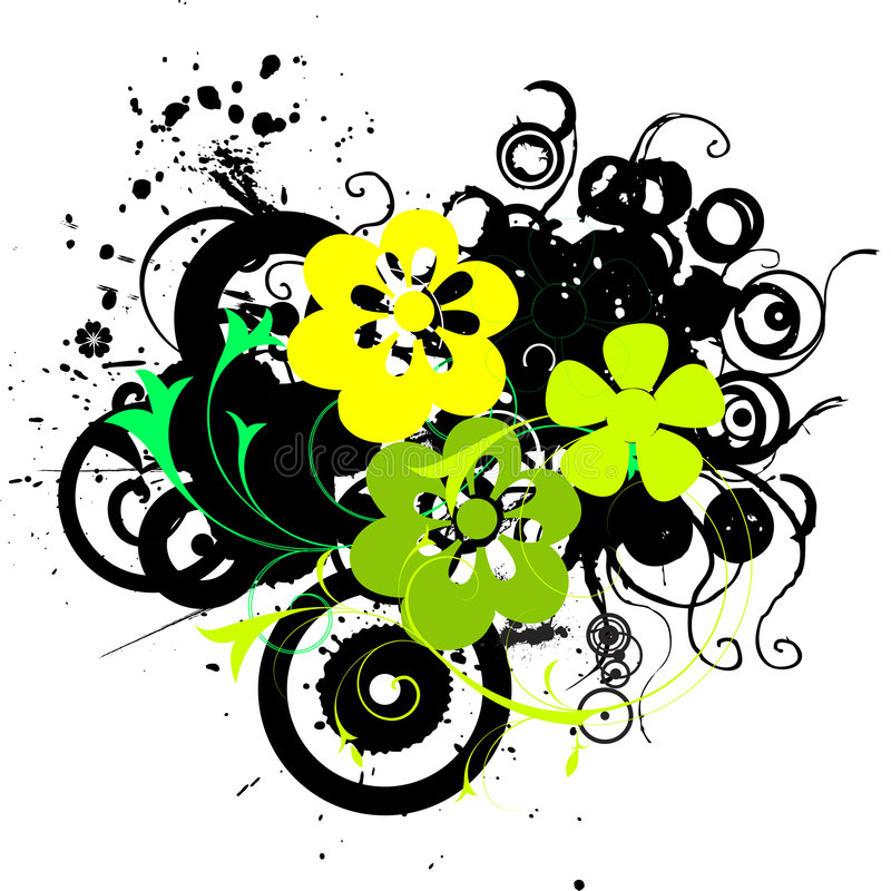 Grunge flowers. Grunge and floral elements vector royalty free illustration