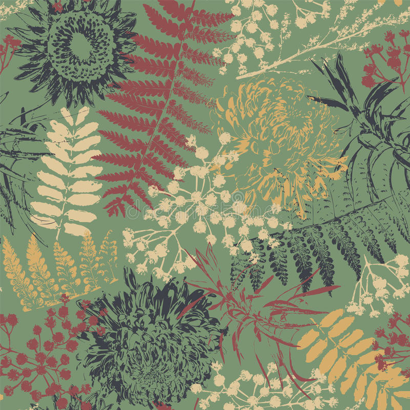Grunge flowers and leaves. On a green background in seamless pattern stock illustration