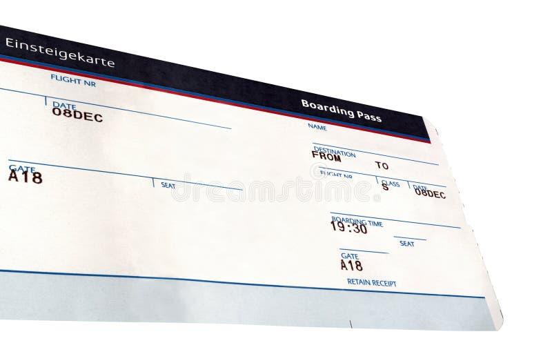 Grunge Flugticket getrennt, Papierbeschaffenheit lizenzfreies stockbild