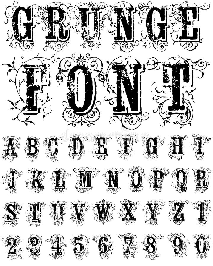 Grunge Font. Original vector grunge font alphabet with ornaments royalty free illustration