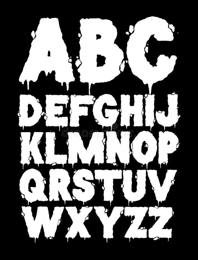 Download Grunge font alphabet stock vector. Image of drip, sketch - 33705503