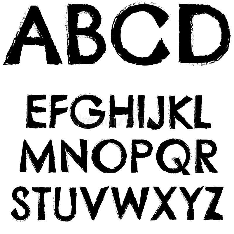 Grunge font full alphabet letter stock illustration