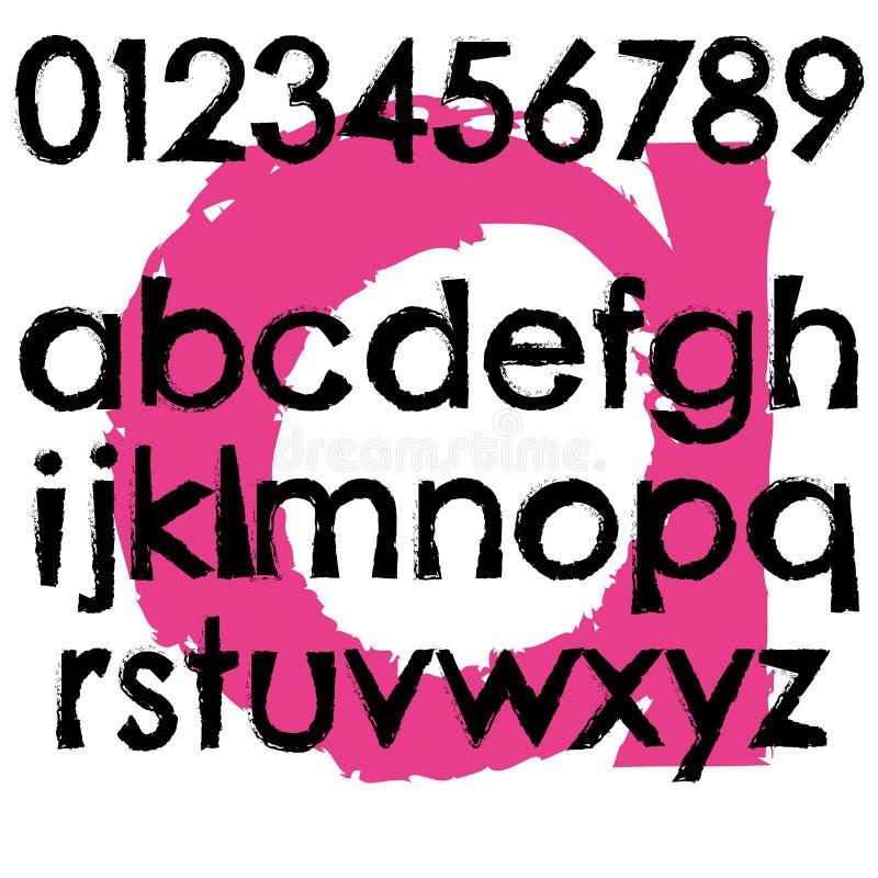Grunge font full alphabet letter lowercase vector illustration