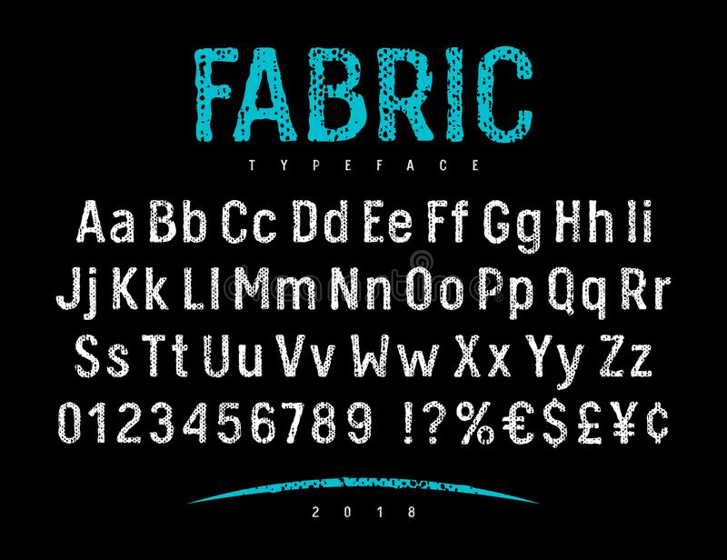 Fabric Font 001. Grunge font with rough fabric texture. Rough stamp alphabet. Vectors royalty free illustration
