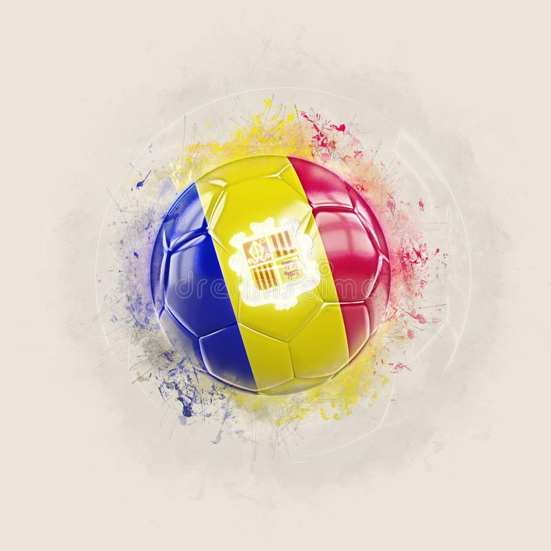 Grunge football with flag of andorra. 3D illustration vector illustration
