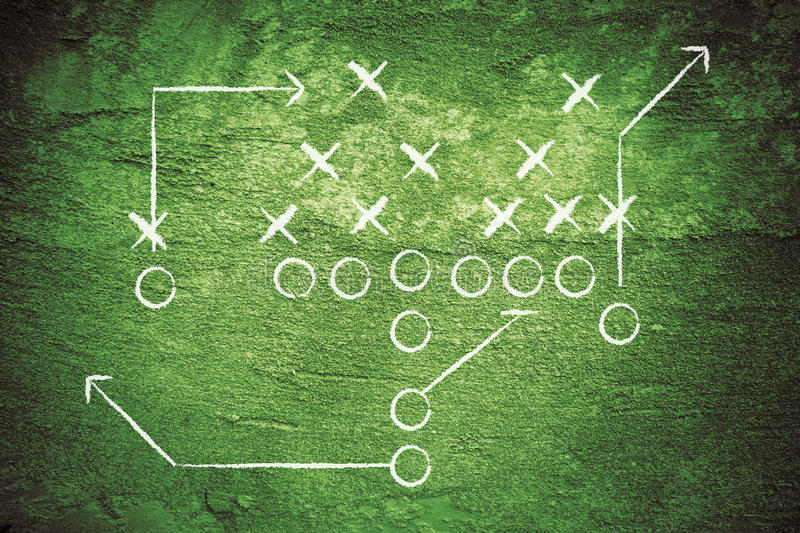 Grunge Football Play. Grunge American football play with white chalk drawn lines royalty free stock images