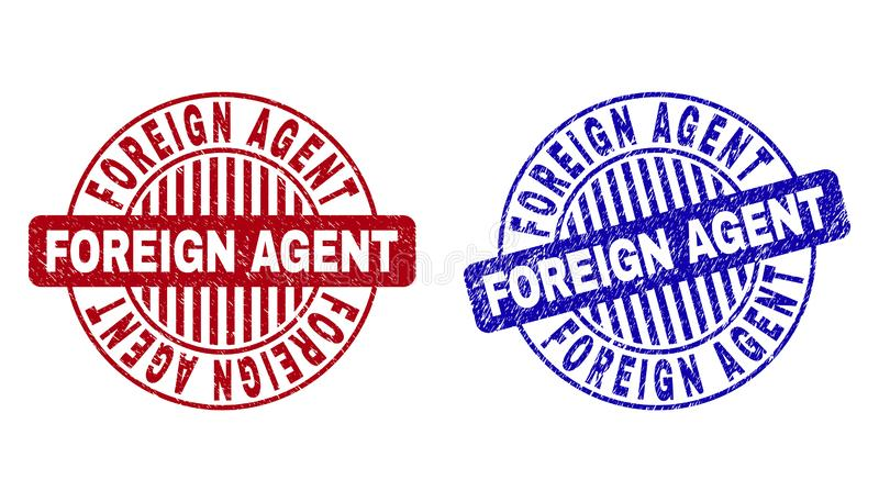 Grunge FOREIGN AGENT Scratched Round Watermarks. Grunge FOREIGN AGENT round stamp seals isolated on a white background. Round seals with distress texture in red royalty free illustration