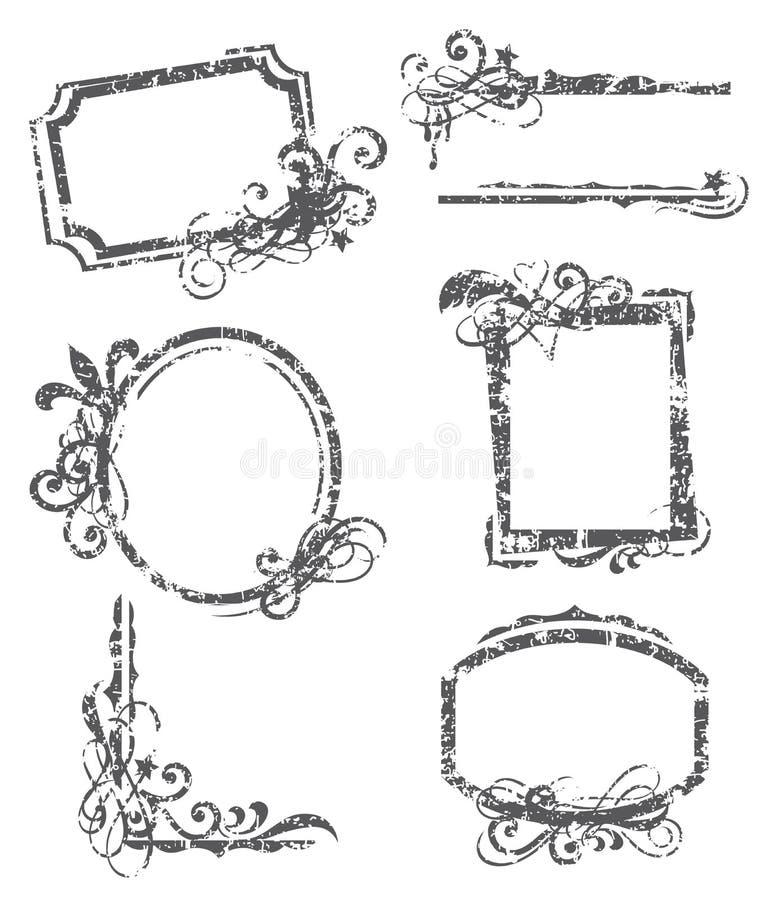 Grunge Frame. Illustration of frame set with grunge effect stock illustration