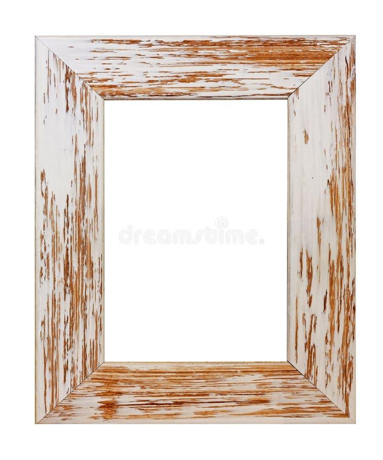 Grunge frame. Grunge rectangular photo frame isolated on white royalty free stock photos