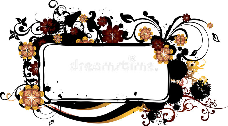 Grunge Frame with Arabesques vector illustration
