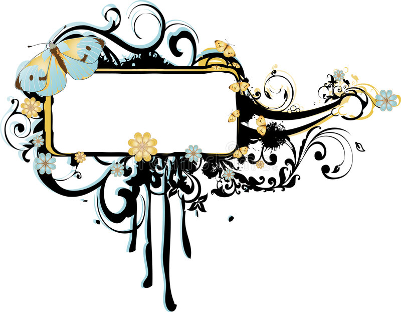 Grunge Frame with Arabesques and Butterflies royalty free illustration