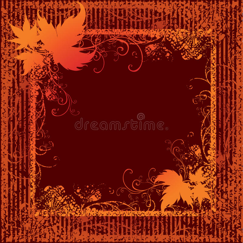 Download Grunge Frame With Autumn Leafs. Thanksgiving Stock Vector - Illustration of ornate, harvest: 11406053