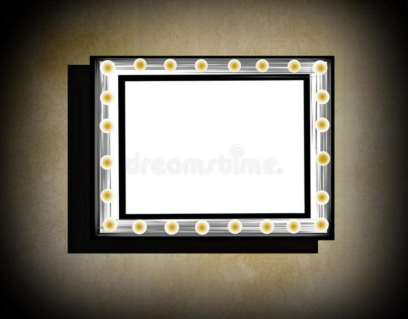 Grunge frame on beige old dirty wall stock illustration