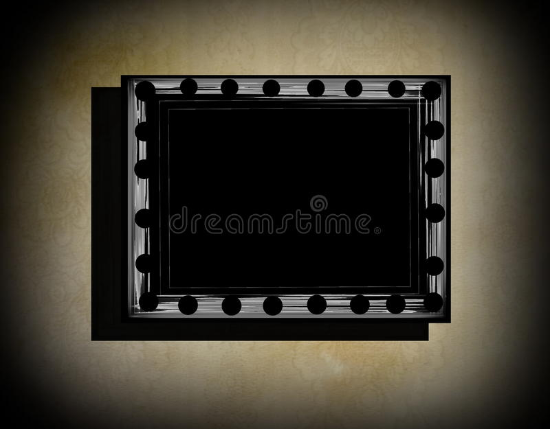 Grunge frame on beige old dirty wall royalty free illustration