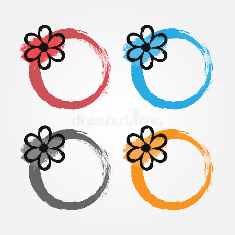 Grunge frame with a black flower. Floral round border painted by hand with a brush. vector illustration