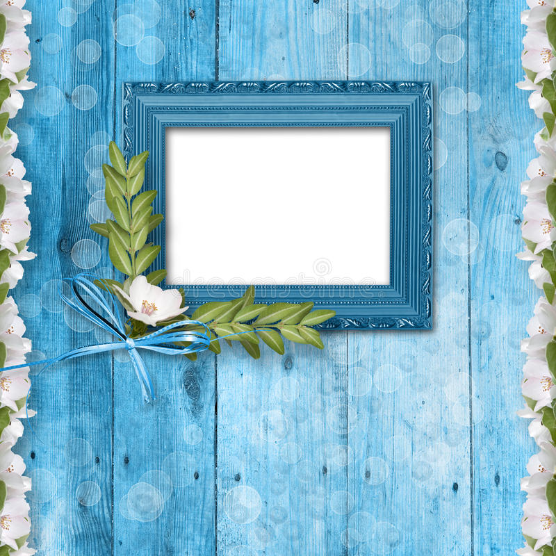 Grunge frame with bunch of flower stock illustration