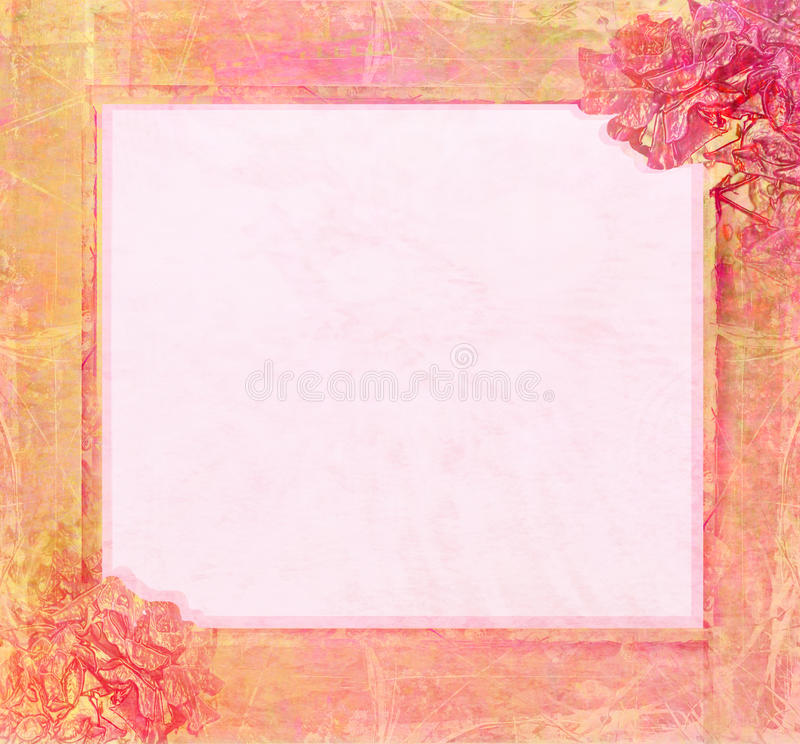 Grunge Frame For Congratulation With Flower Royalty Free Stock Images