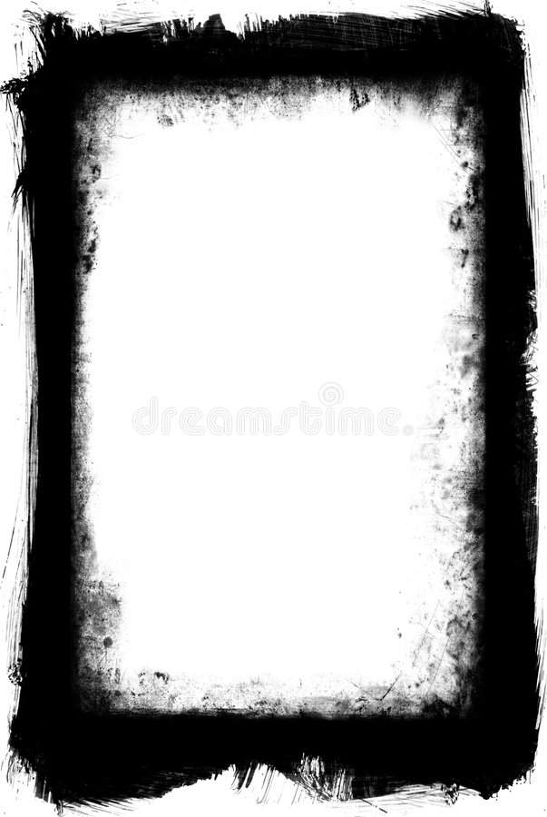 Grunge Frame Element. Black and white grungy frame with brushed outer and inner decay stock photos