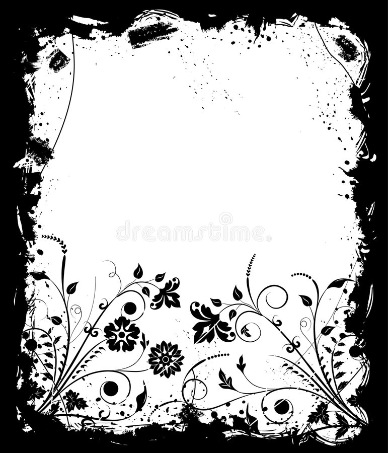 Grunge frame flower, elements for design, vector stock illustration