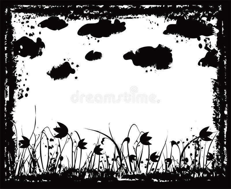 Grunge frame with flowers and clouds, vector vector illustration