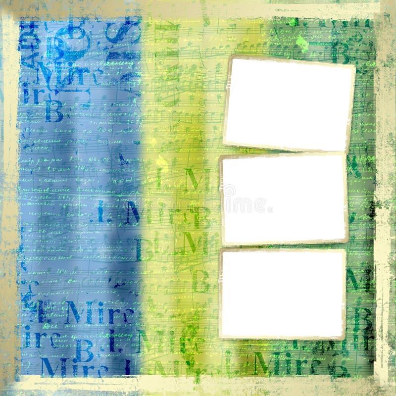 Grunge frame from old paper stock illustration
