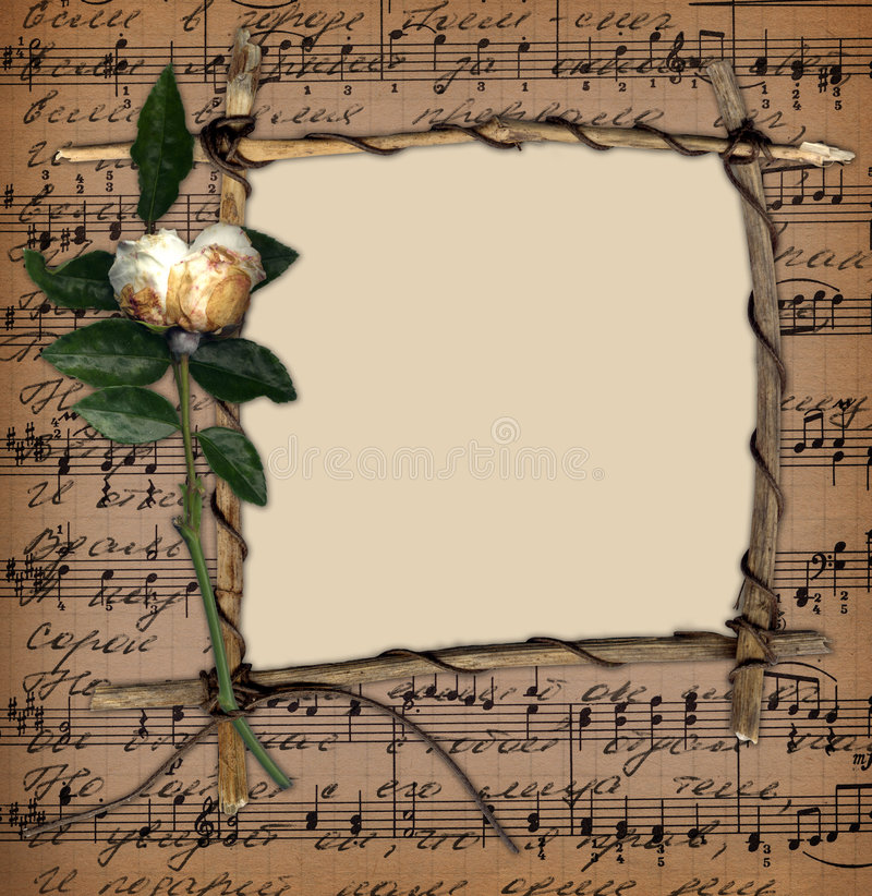Grunge frame with old rose on the music background vector illustration
