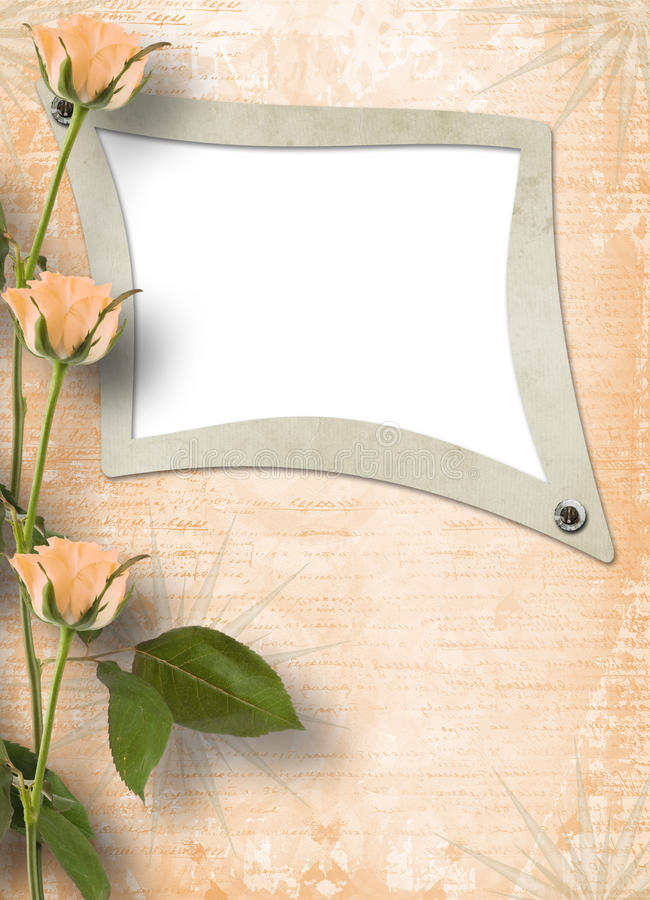 Grunge frame for photo with roses vector illustration